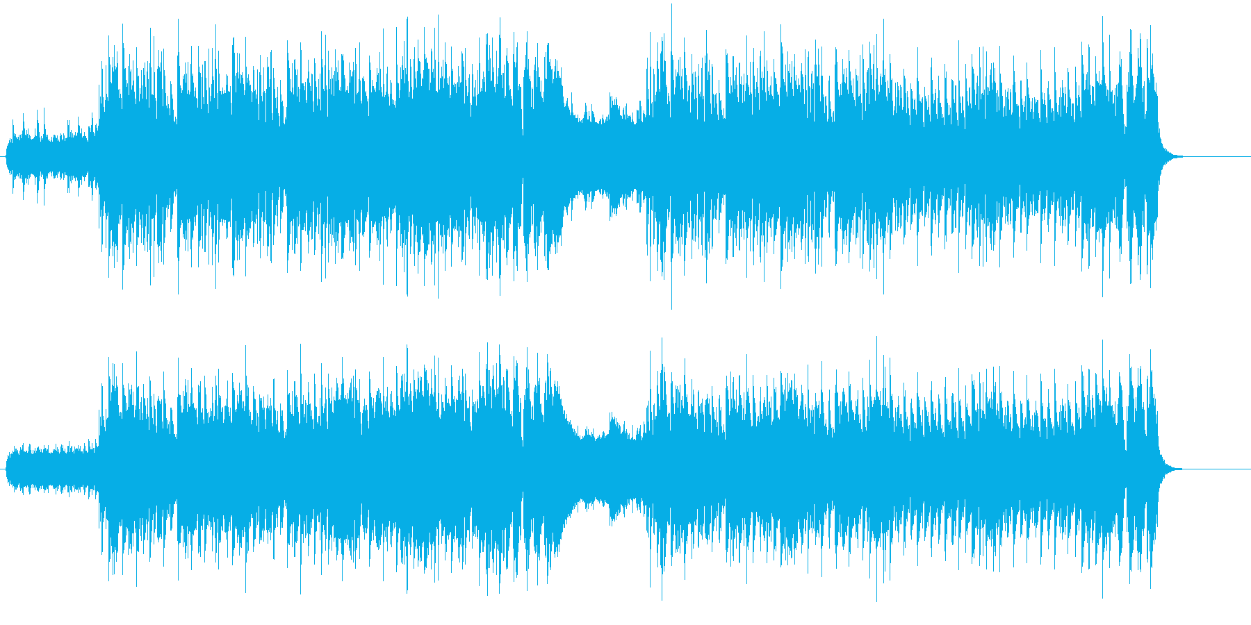 ロックのリズムに、ブラスとストリングスの再生済みの波形