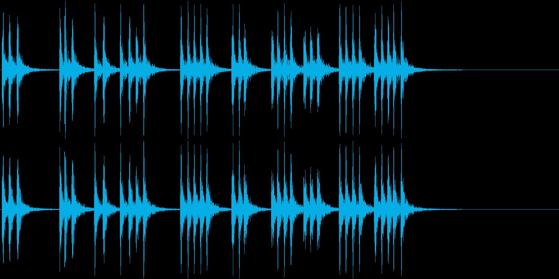 連続した、重いノック音(ループ可能)の再生済みの波形