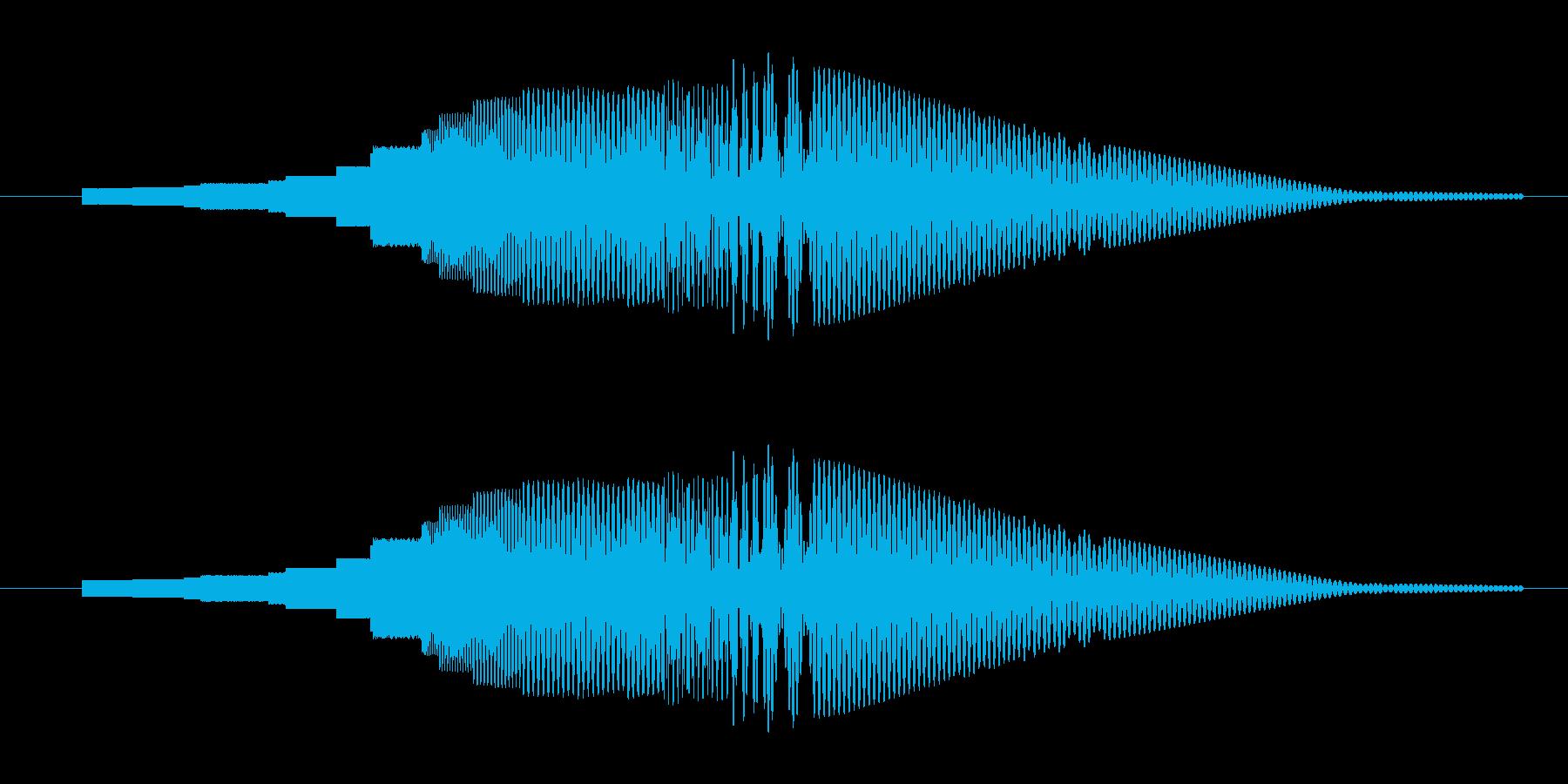一昔前のSFっぽいボタン音の再生済みの波形