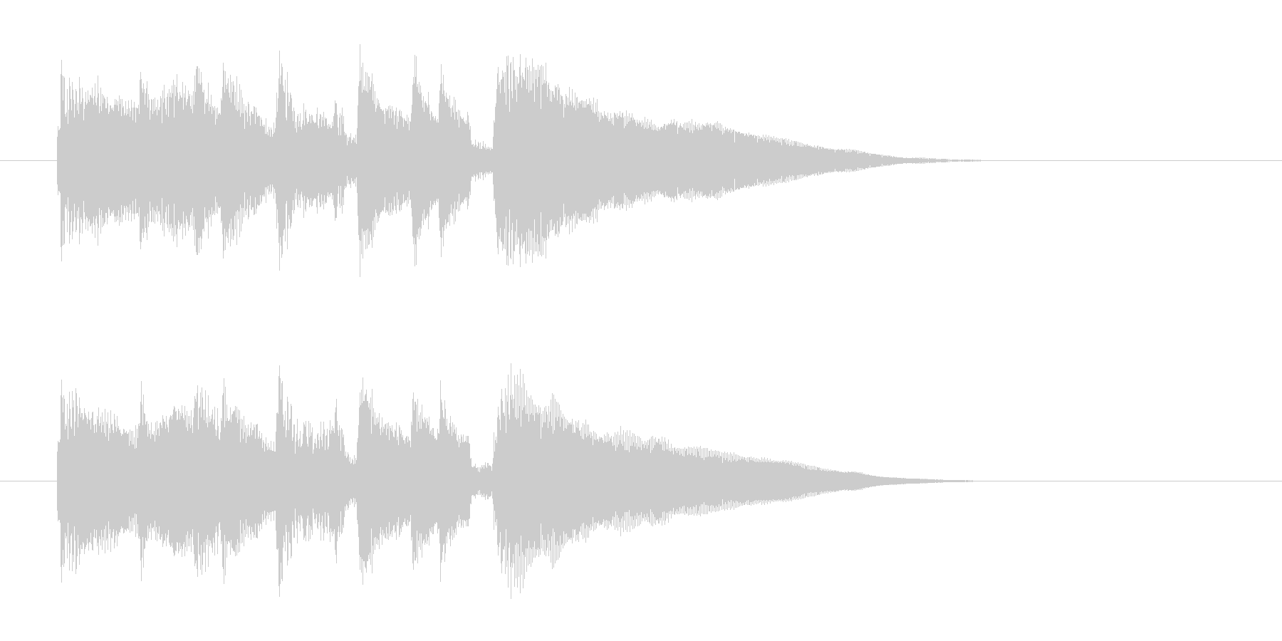 滑らかですっきりしたピアノの短い曲の未再生の波形