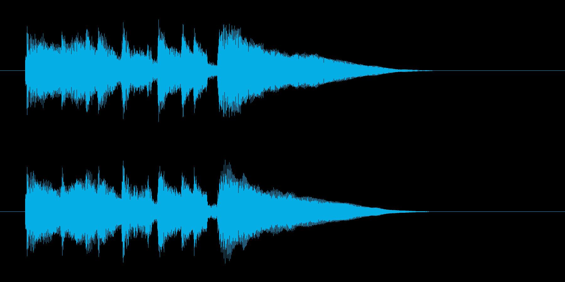 滑らかですっきりしたピアノの短い曲の再生済みの波形