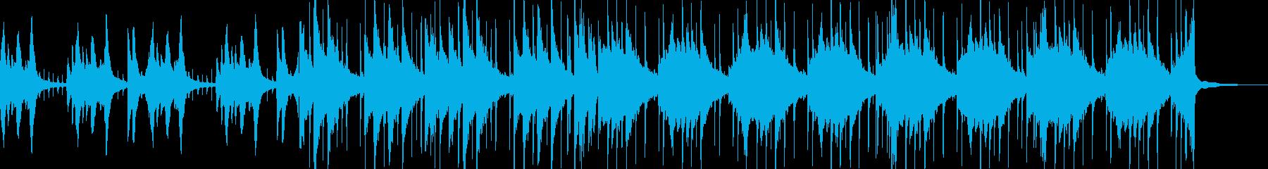 ドラムとピアノの落ち着いたBGMの再生済みの波形