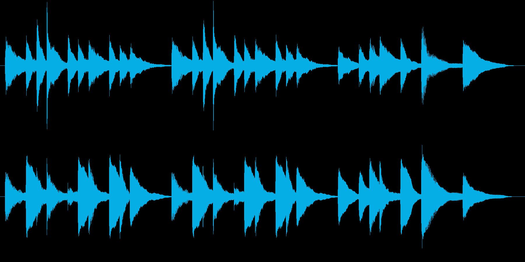 穏やか、ほのぼのとしたピアノのジングルの再生済みの波形