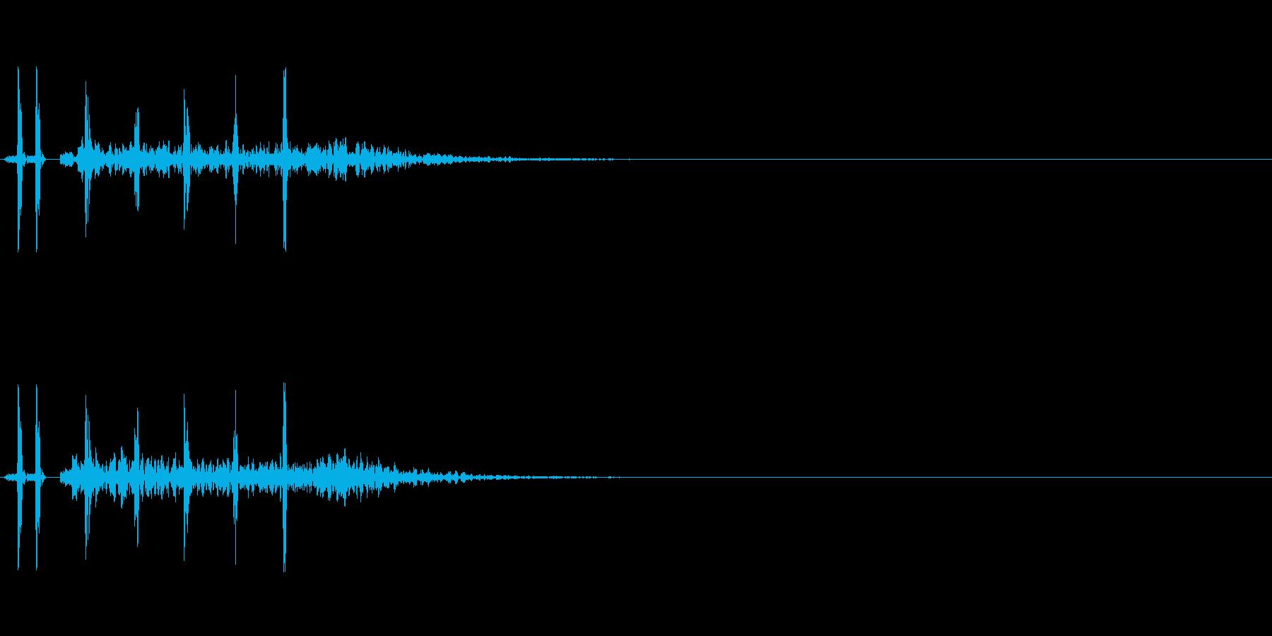 発砲音 3連射の再生済みの波形