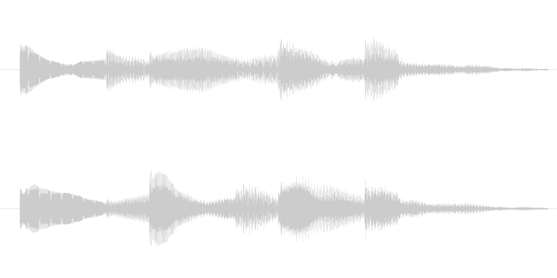 シンプルで分かりやすい2秒サウンドロゴの未再生の波形