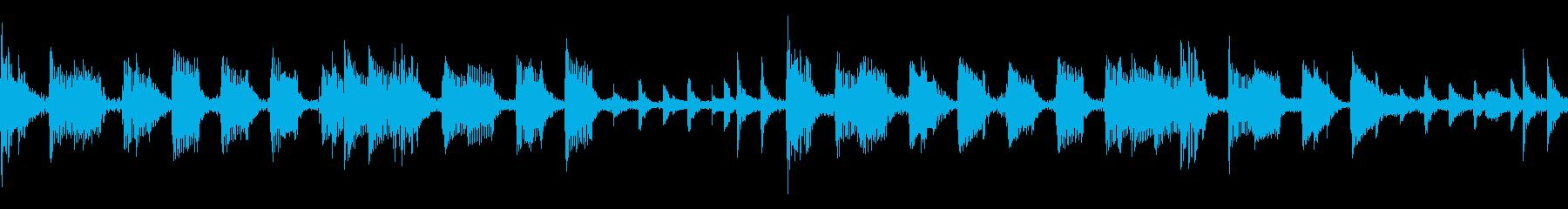 4つ打ちベースメインのループ素材の再生済みの波形