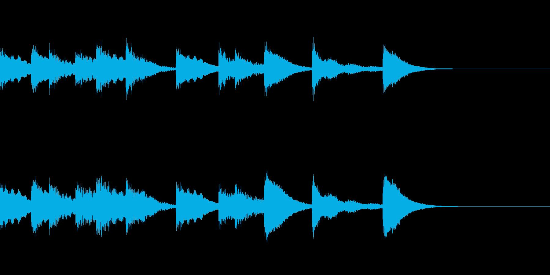 小さなおもちゃピアノの明るいワンフレーズの再生済みの波形