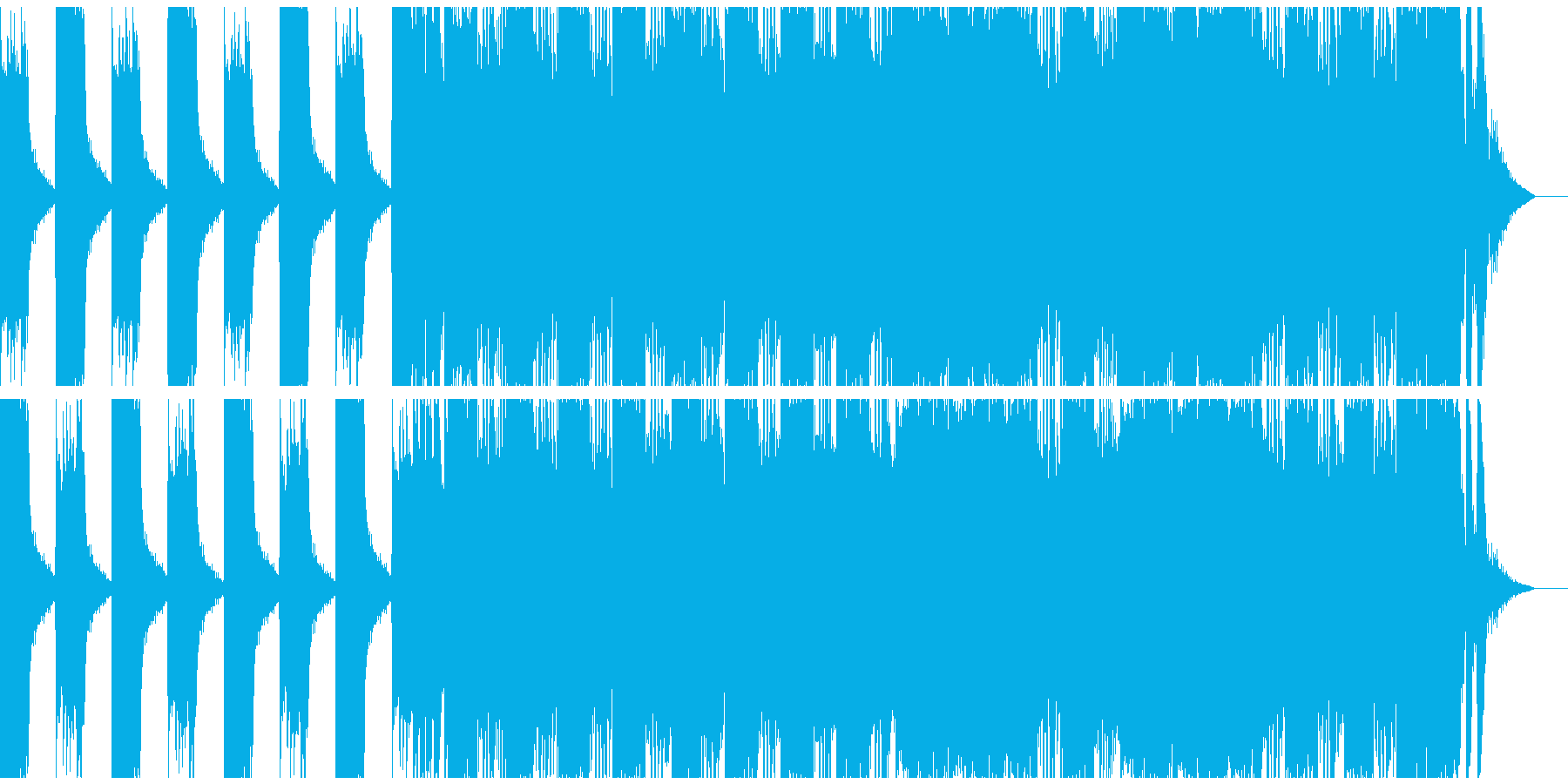 ハードロック調の出囃子SEの再生済みの波形