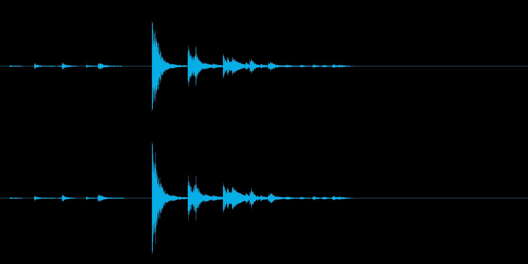 陶器の貯金箱にコインを入れる音の再生済みの波形