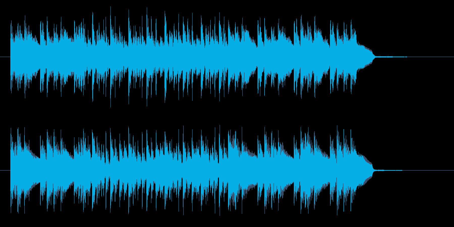 ドラムと電子音の立体的な組み合わせの再生済みの波形