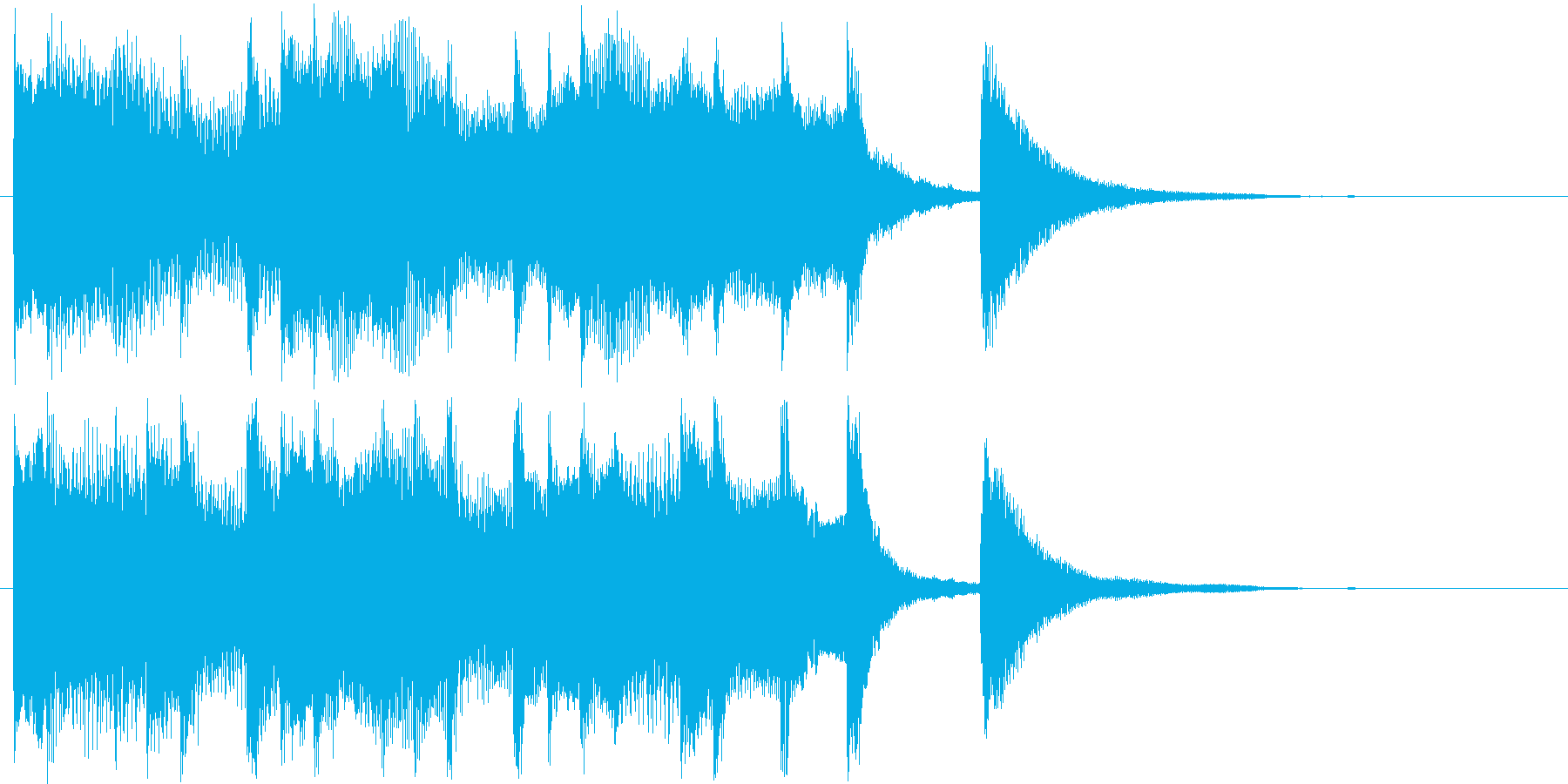 躍動感あるジングル曲の再生済みの波形