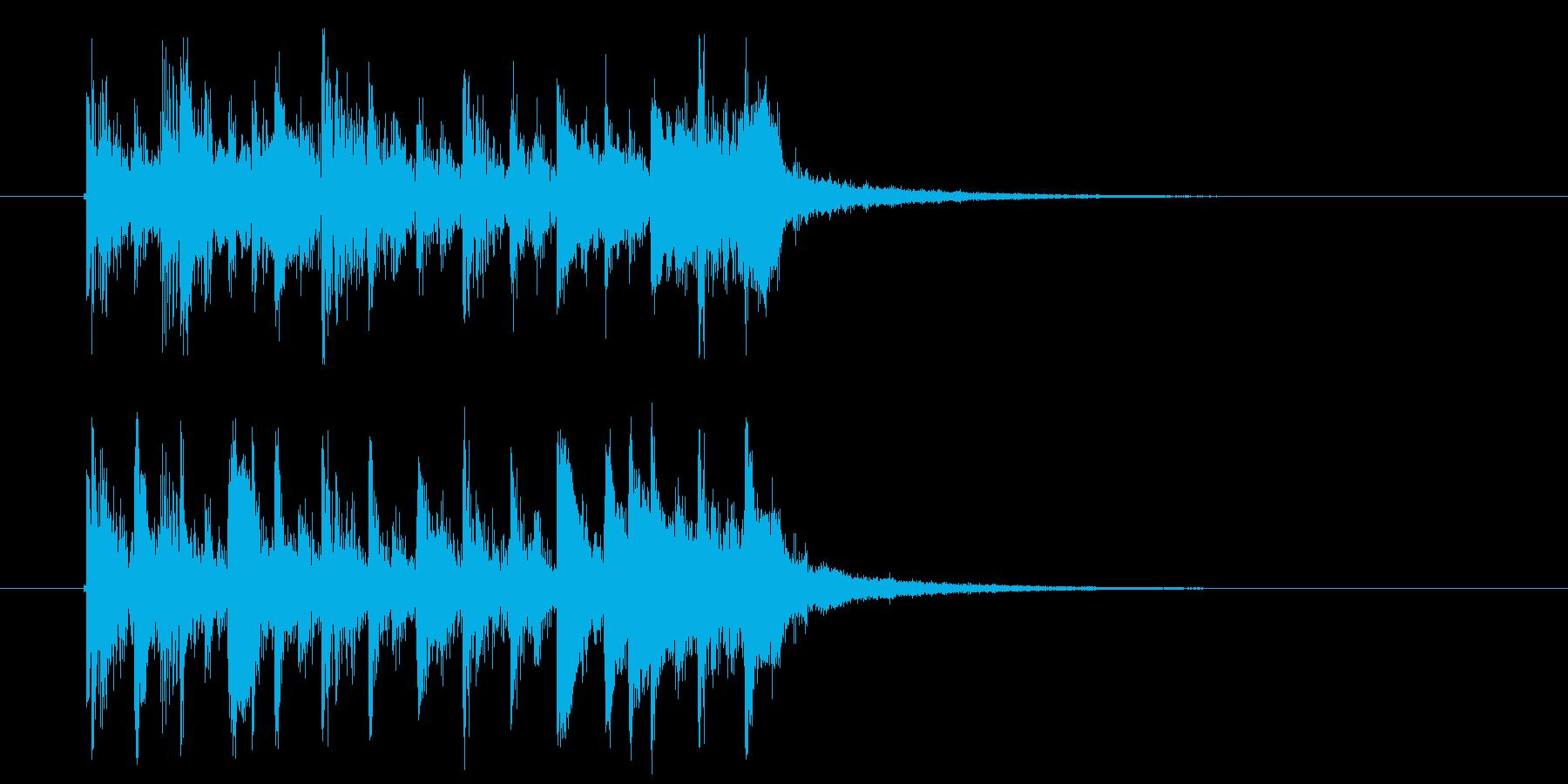 琴にリバーブがかかった音色の短い楽曲の再生済みの波形