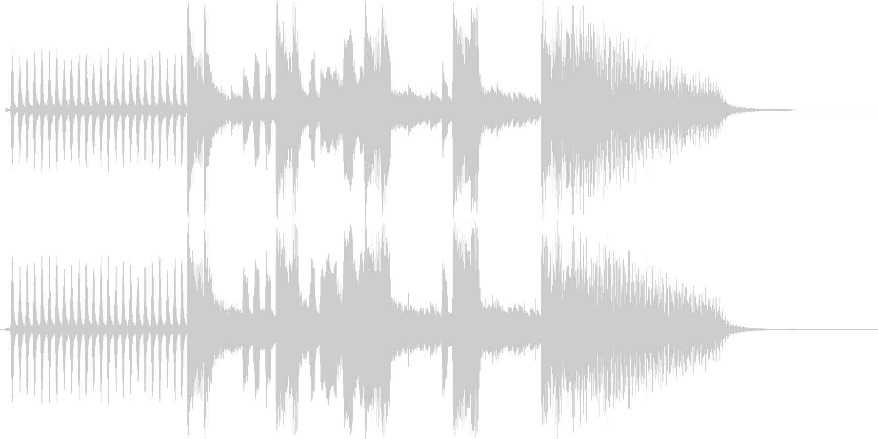 アニメーションで使われるような急ぐ音の未再生の波形