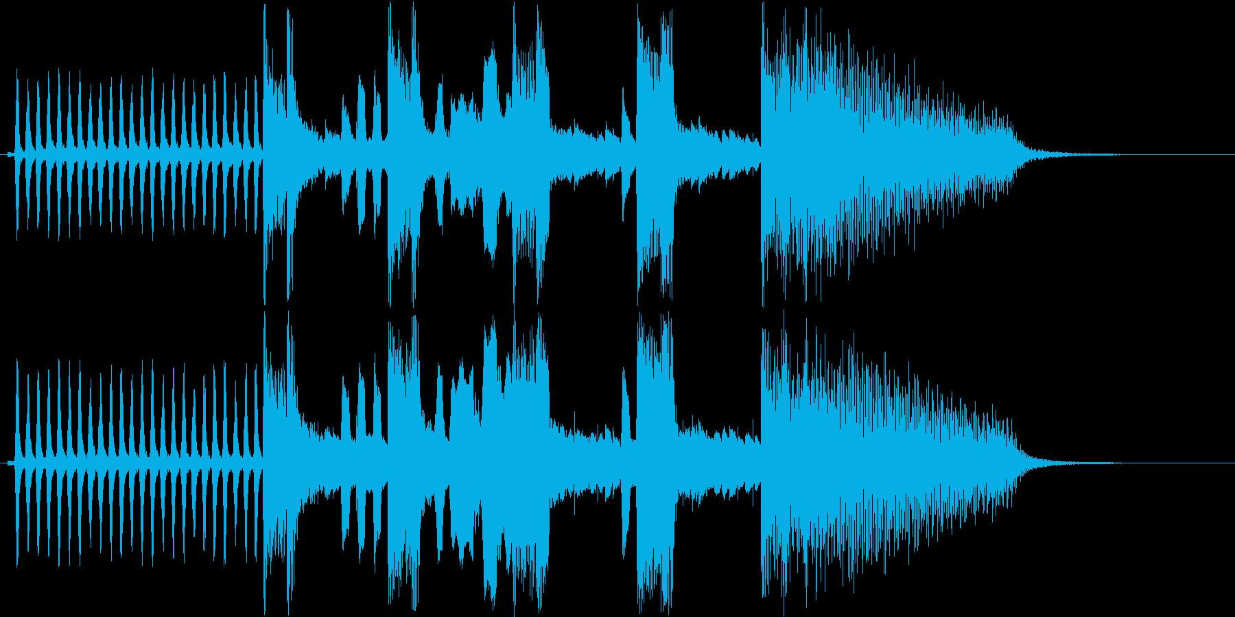 アニメーションで使われるような急ぐ音の再生済みの波形