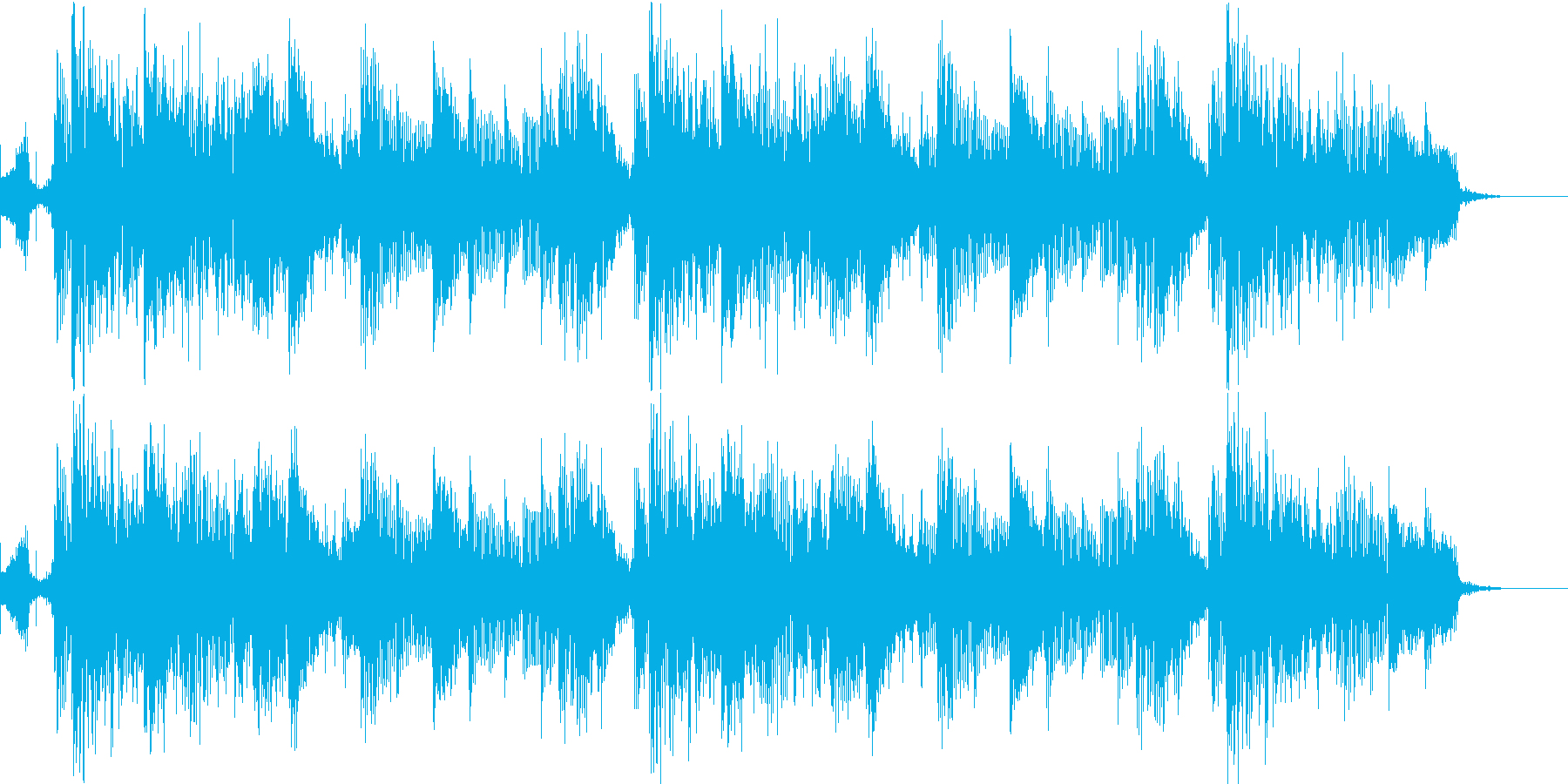 テクノとロックの融合したBGMの再生済みの波形