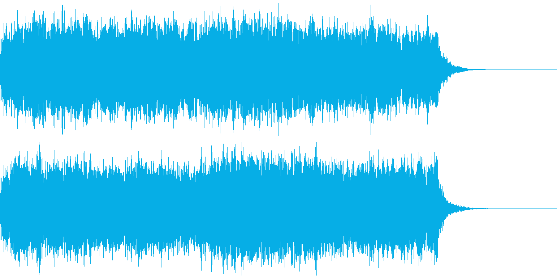 オーケストラの派手なエンディングジングルの再生済みの波形