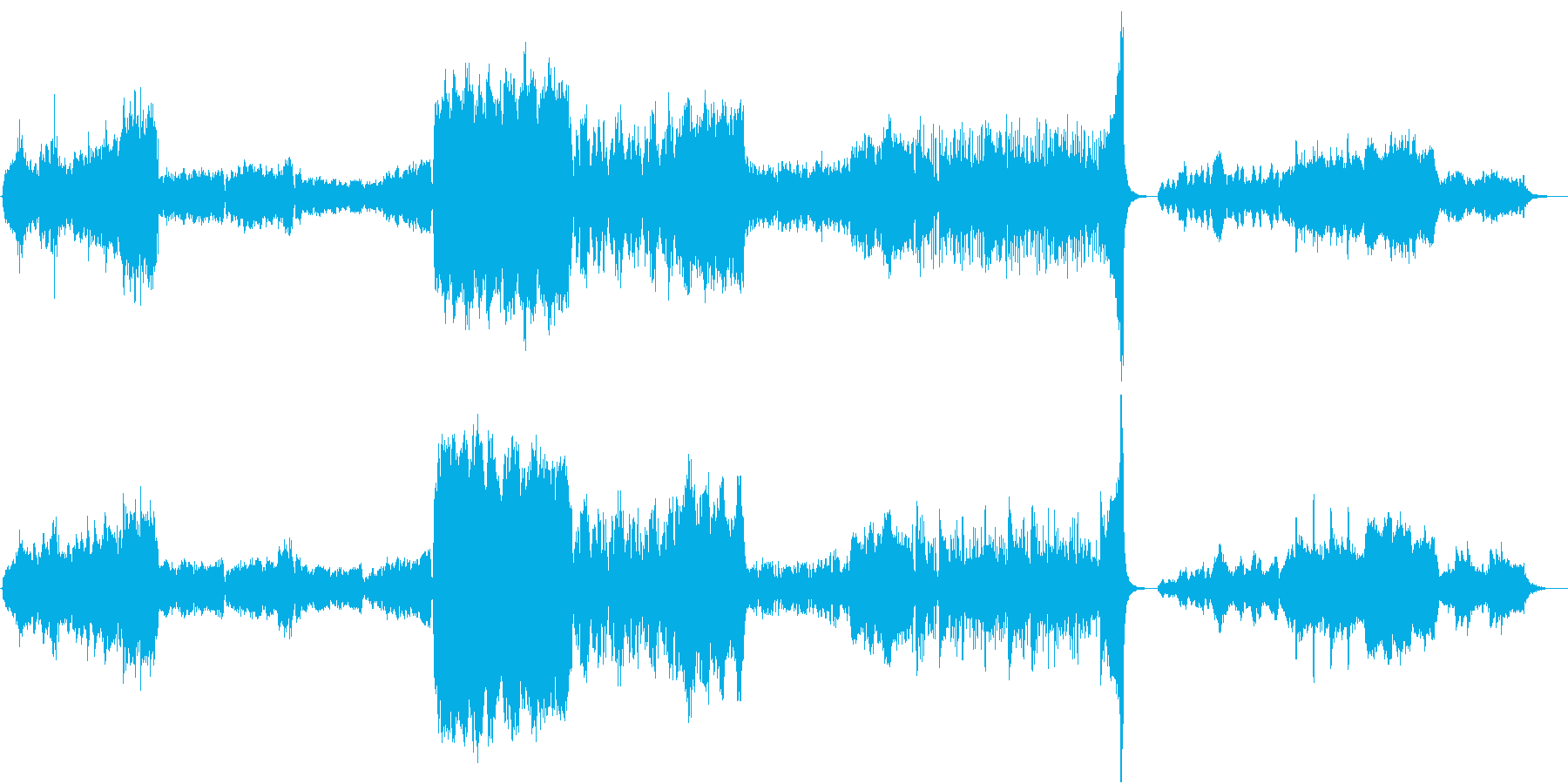 神秘感たっぷりの管弦楽とコーラス系の再生済みの波形