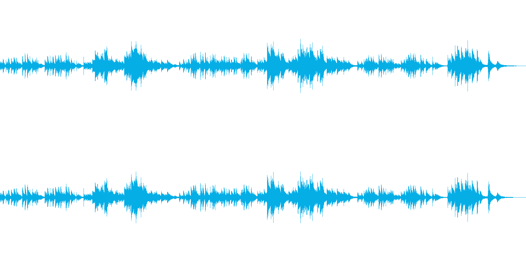シンプルで印象的な癒し系ピアノの再生済みの波形