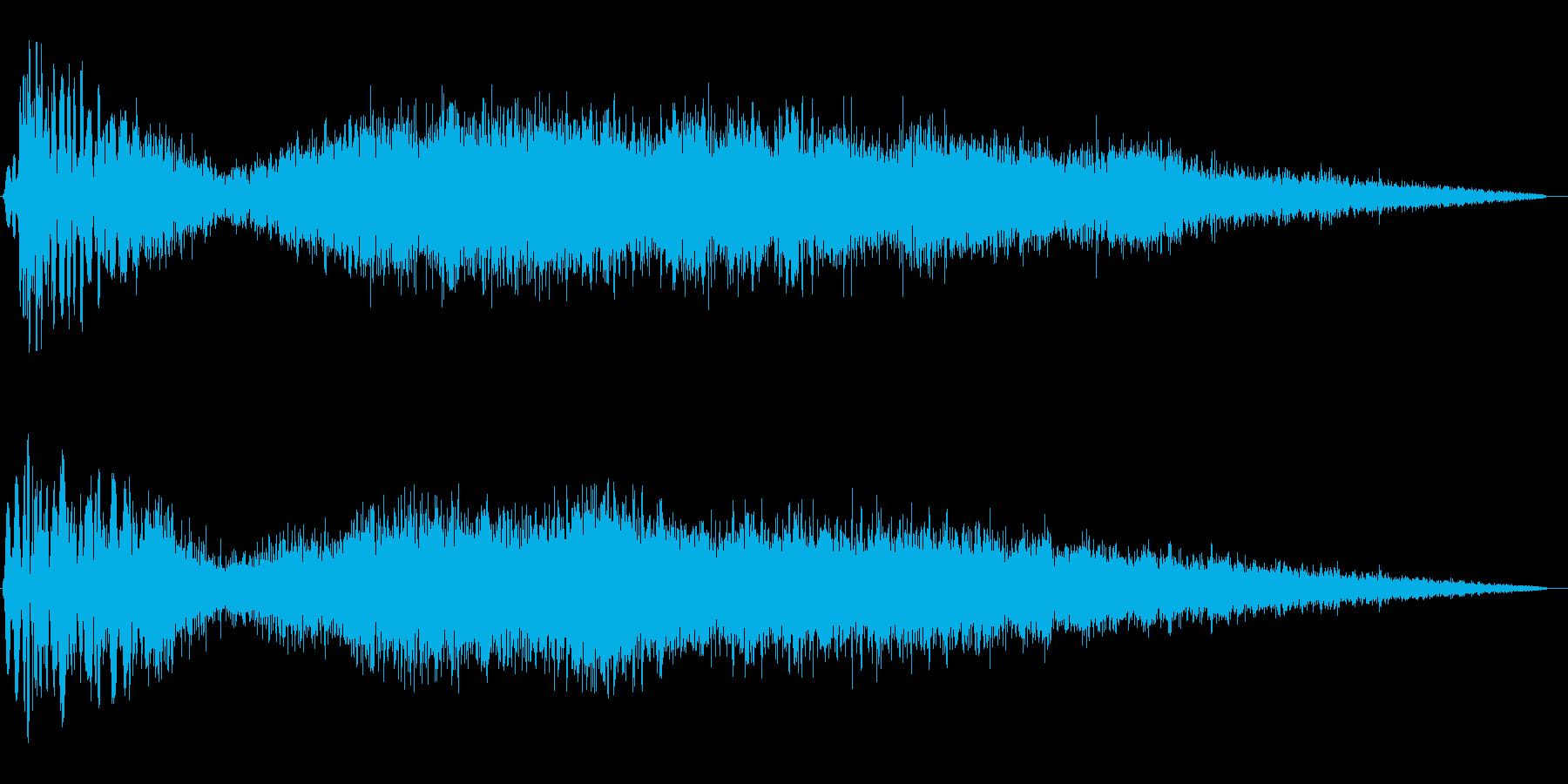勢いよく噴出する蒸気音の再生済みの波形