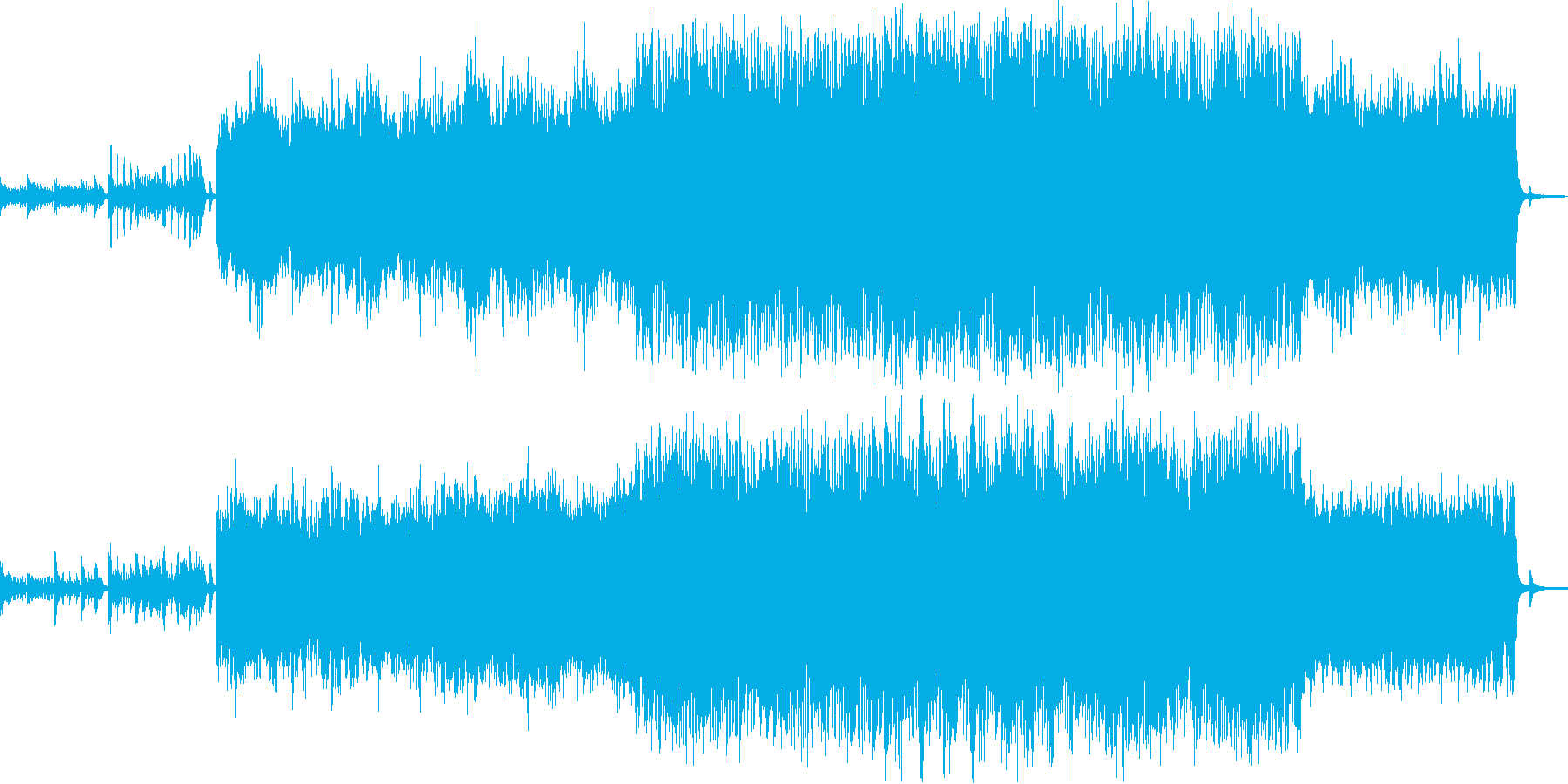 ピアノとアコギをメインにした音楽の再生済みの波形