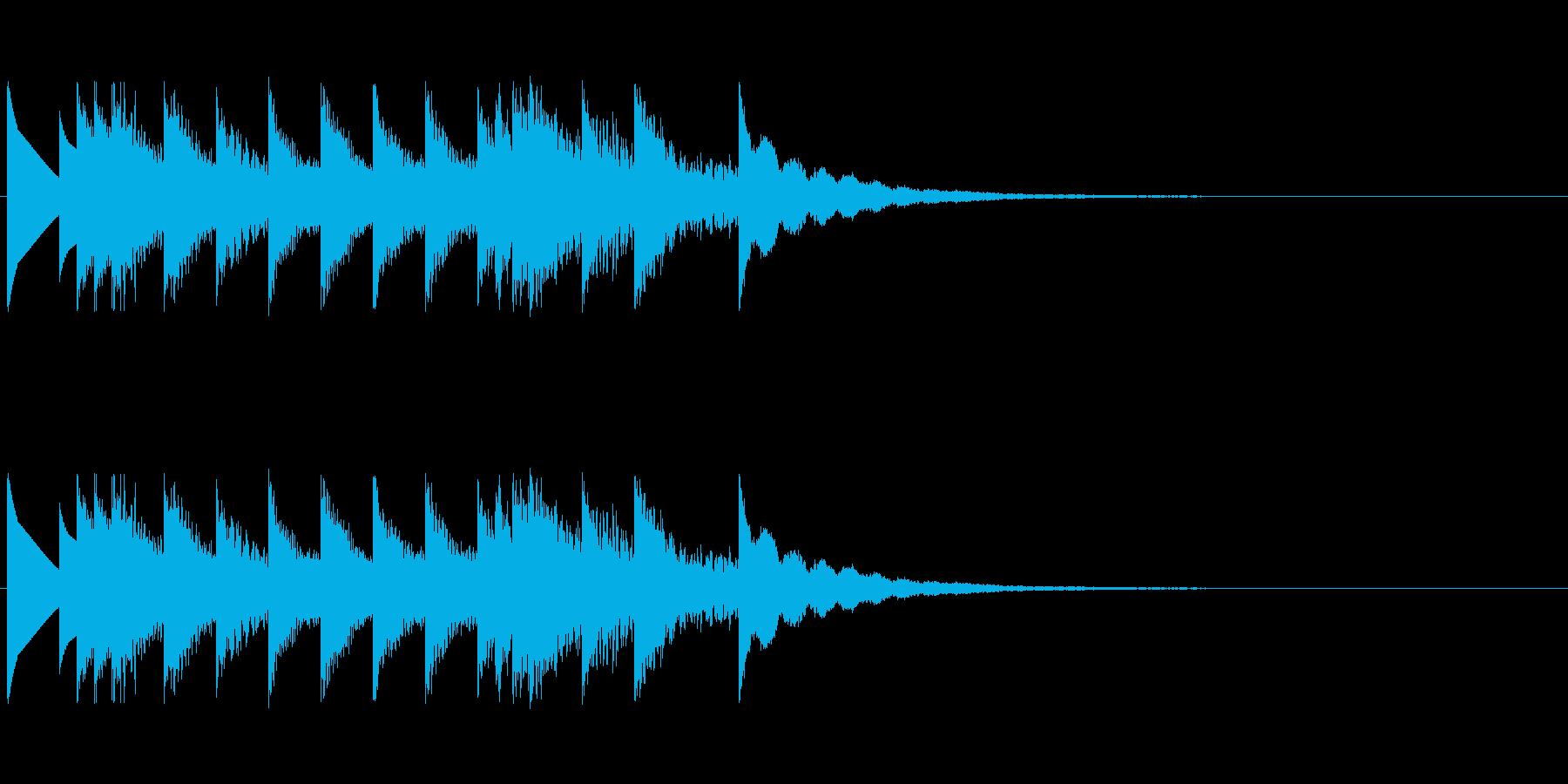 白家電のお知らせ音などにの再生済みの波形