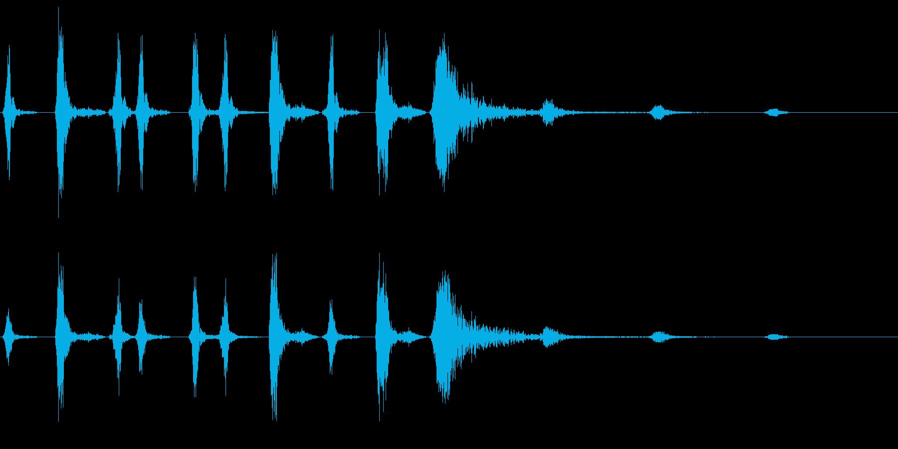 リズミカルな風切り音の再生済みの波形