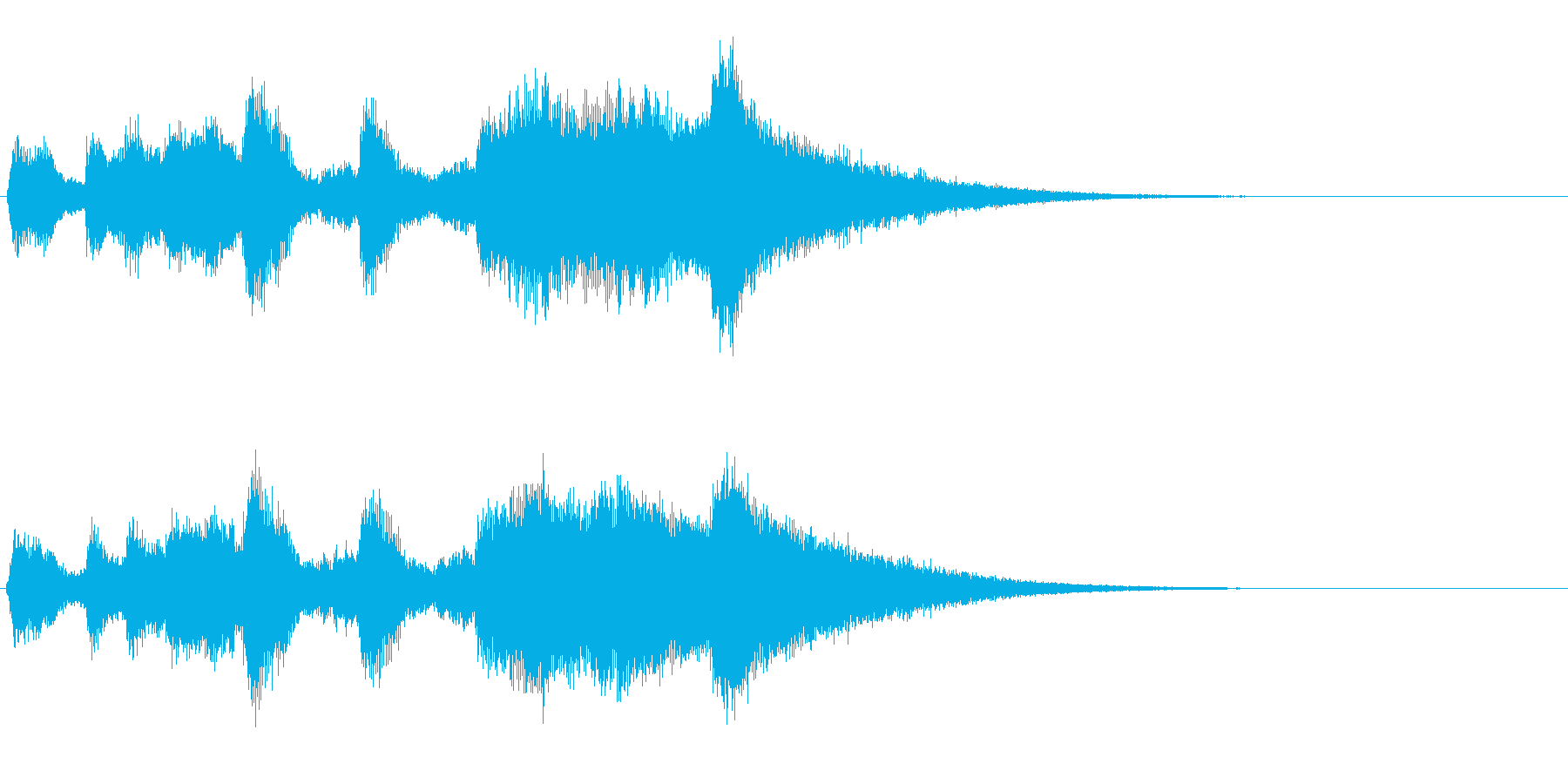 トランペットと打楽器のファンファーレの再生済みの波形