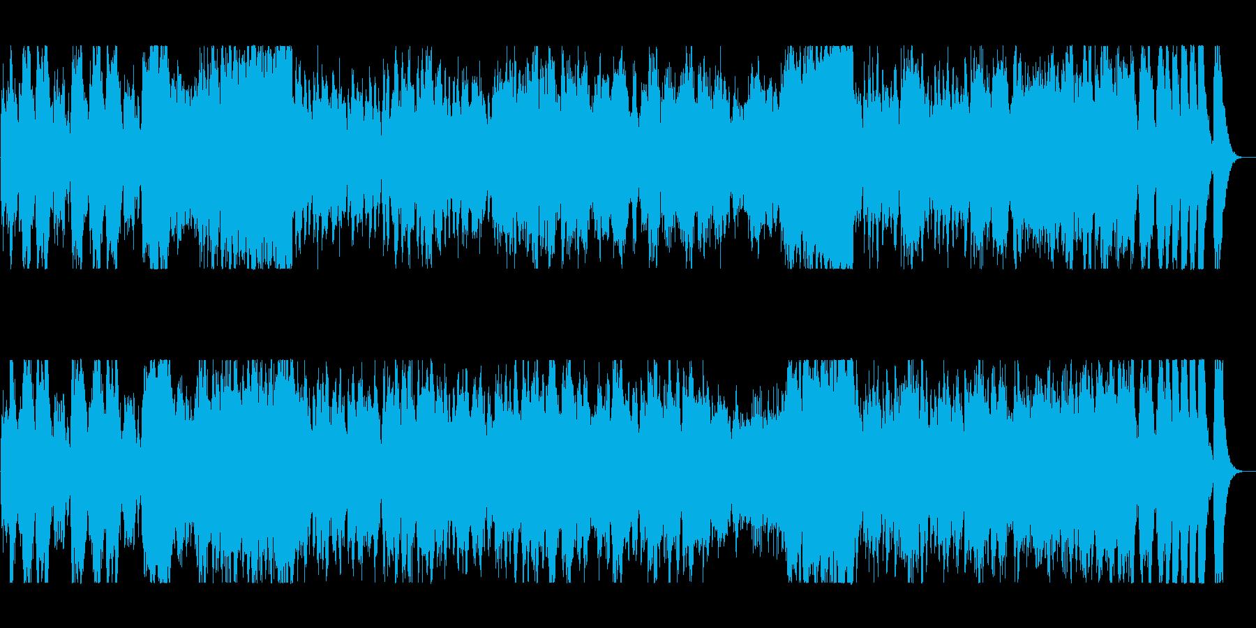 ファンタジーな勢いのある弦楽器・管楽器曲の再生済みの波形