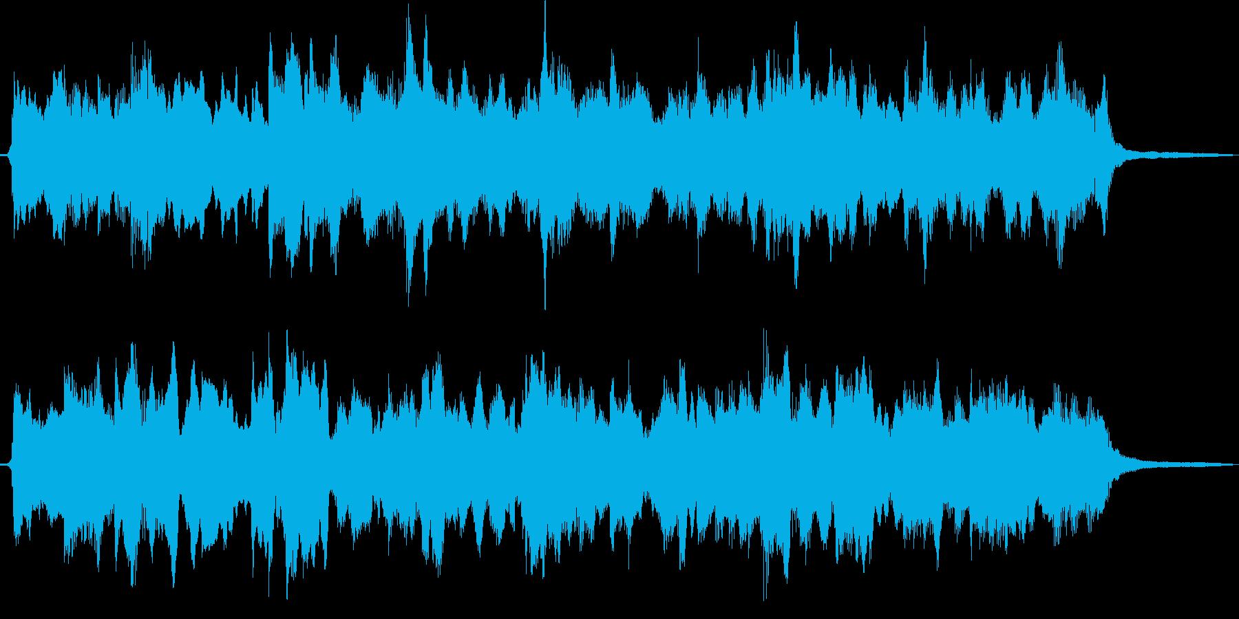 温かく懐かしい雰囲気のシンセBGMの再生済みの波形