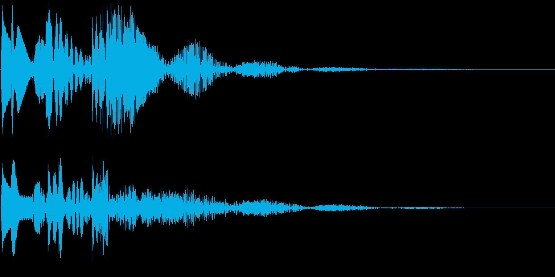 ピピポ↓ 角の無い丸みをおびたボタン音の再生済みの波形