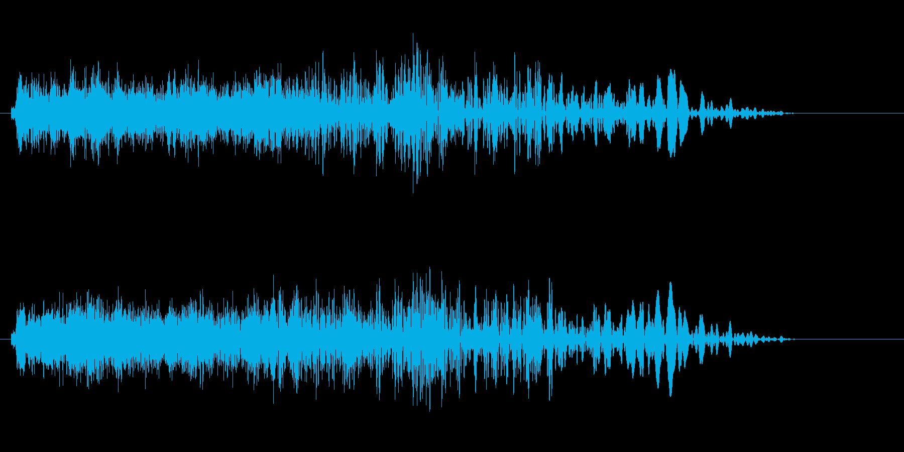 下がり調子の余韻の効果音の再生済みの波形