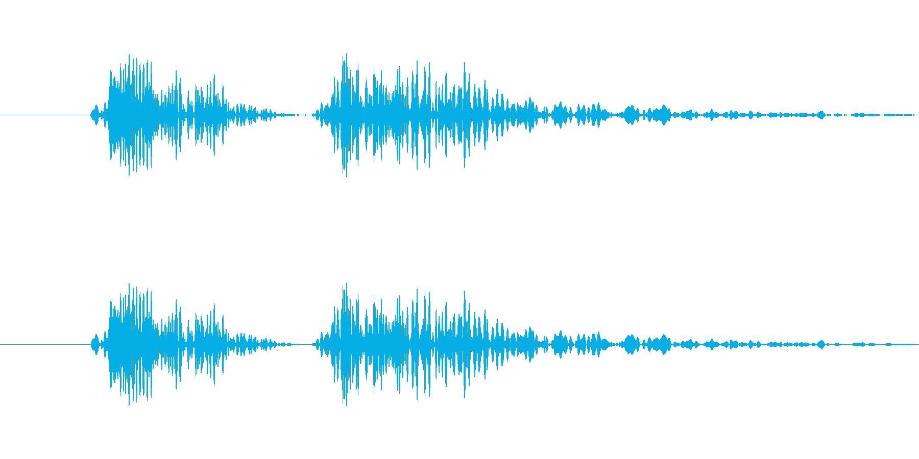 ボタンクリック向け電子音(カコッ)の再生済みの波形