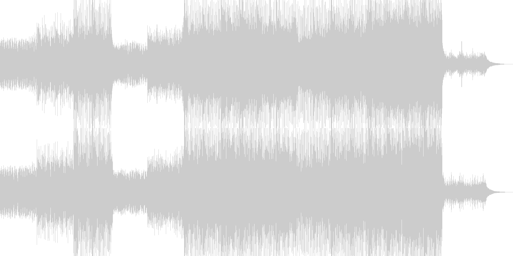 変則的なリズムのピアノとエレキの未再生の波形