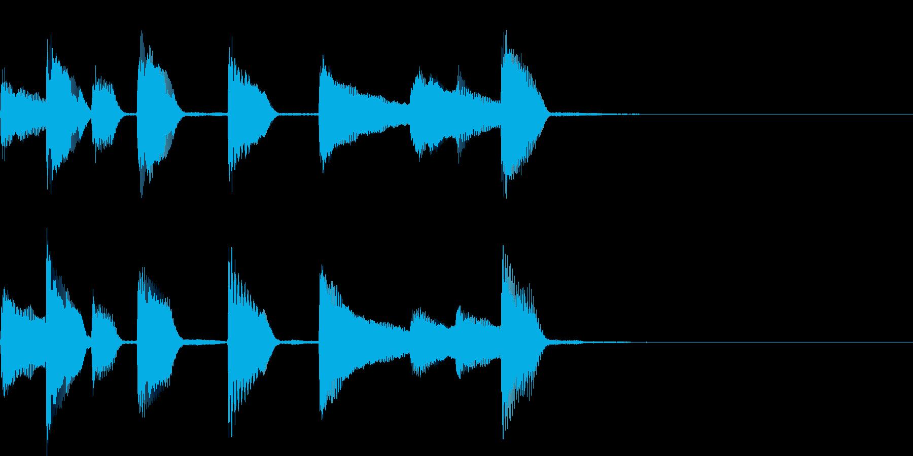 軽快なピアノジングルの再生済みの波形