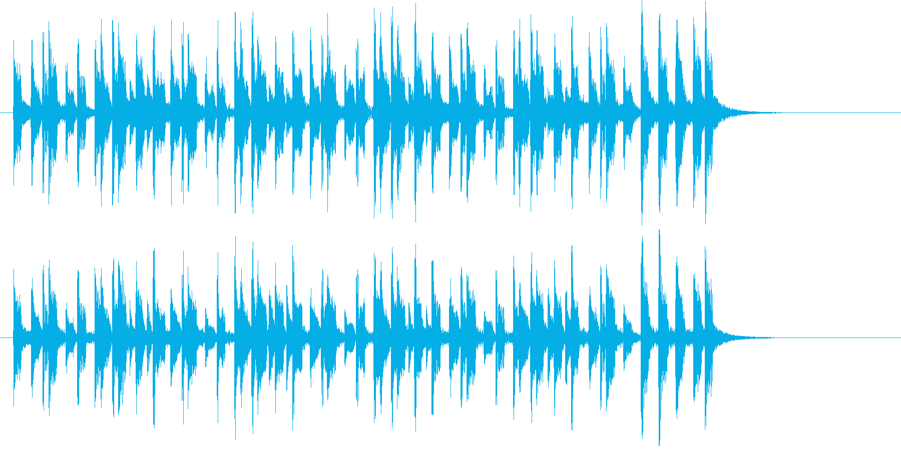 パーカッションの音が元気なインスト曲の再生済みの波形