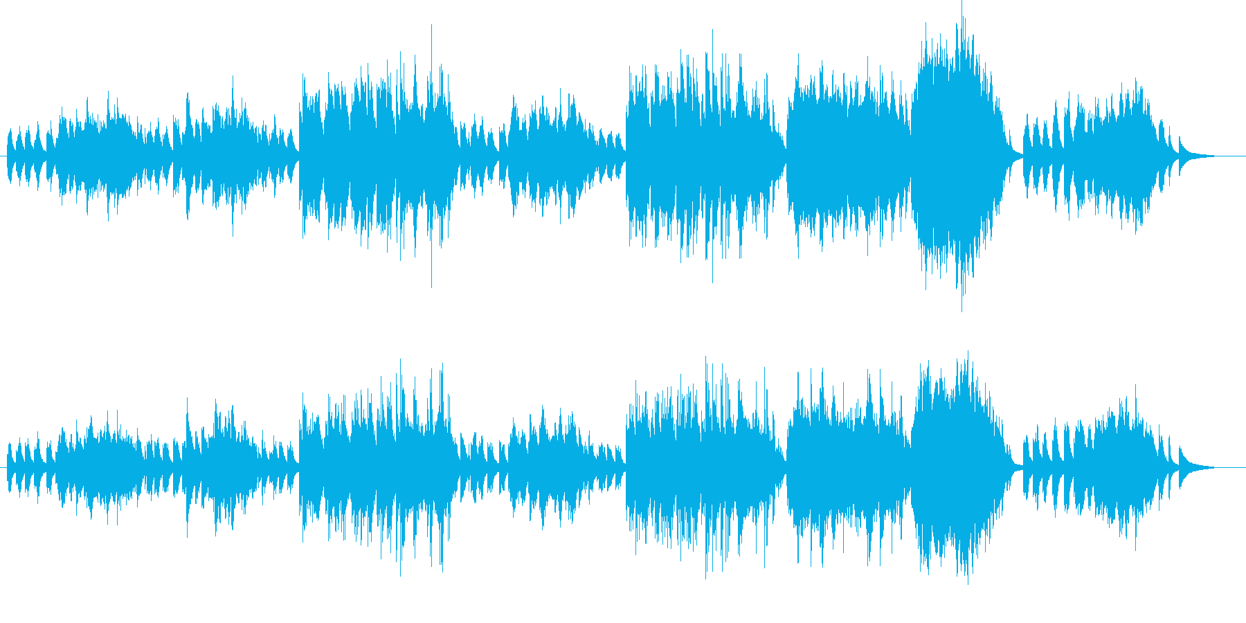 おだやかになるピアノバラードの再生済みの波形