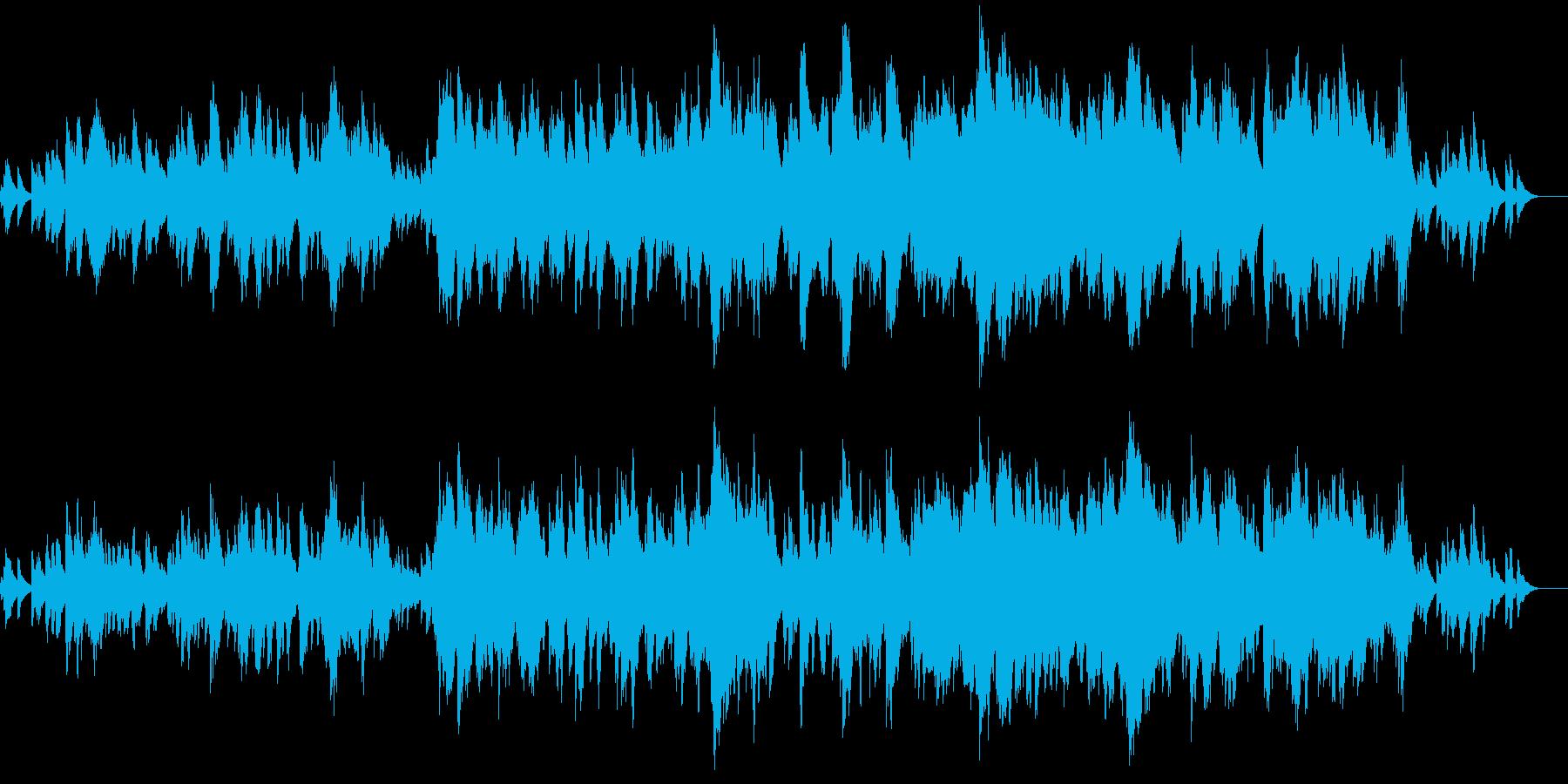 風が棚引いているような環境音楽の再生済みの波形