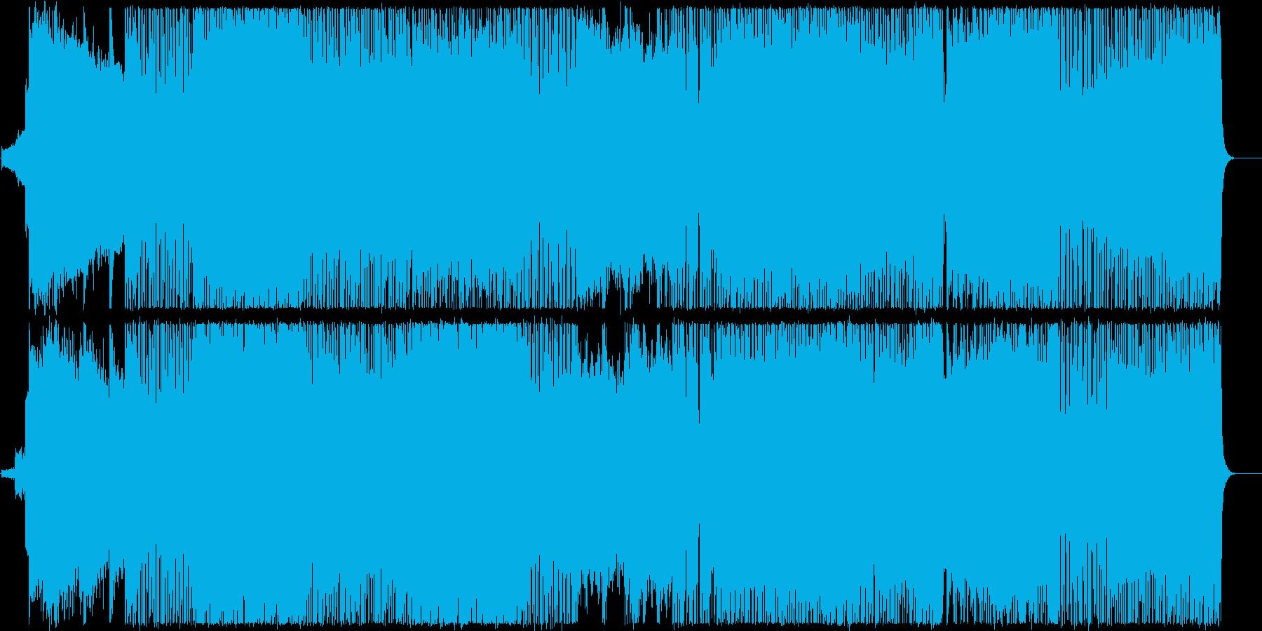 ハードなエッジの効いたギターの曲の再生済みの波形