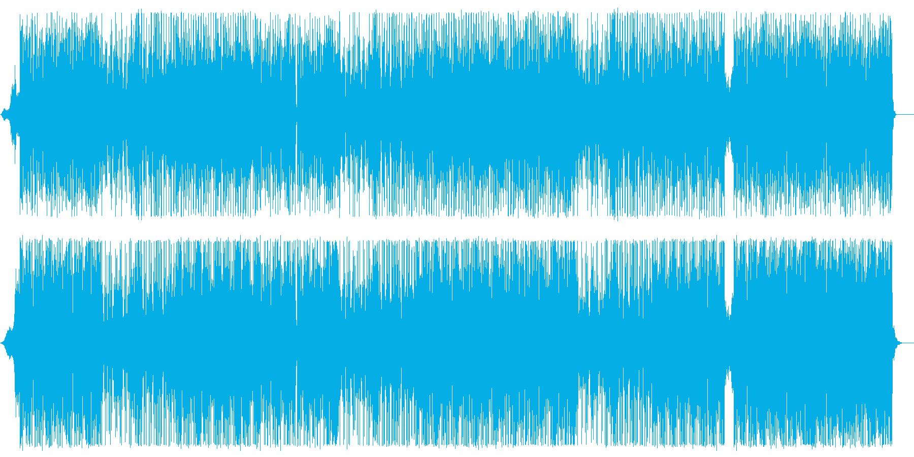 色々な楽器が混じった太いビートのある曲の再生済みの波形