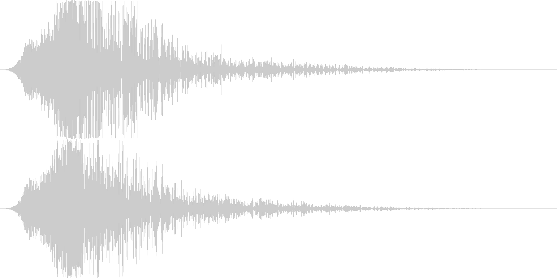 衝撃音の後に、何かが登場したような余韻音の未再生の波形