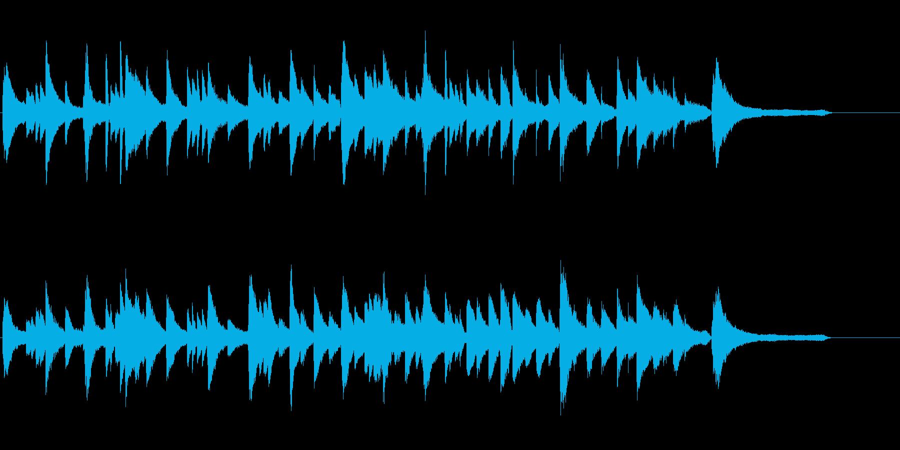 ピアノソロの40秒ジングルの再生済みの波形