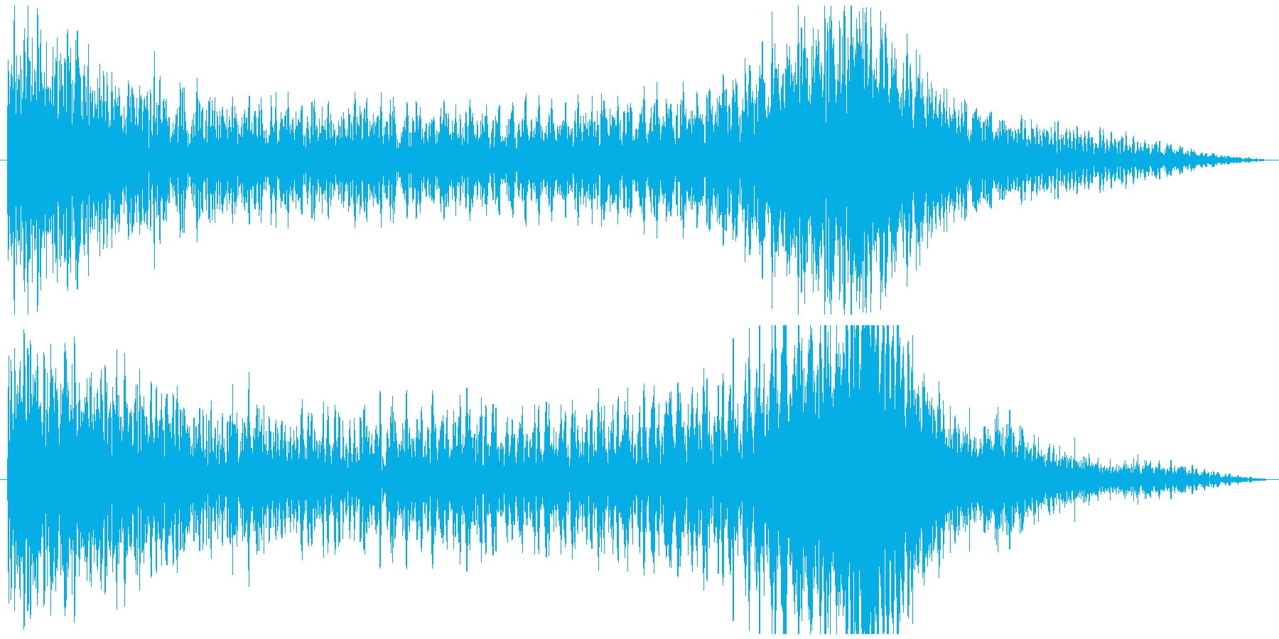 ティンパニーとシンバルのドラムロールの再生済みの波形
