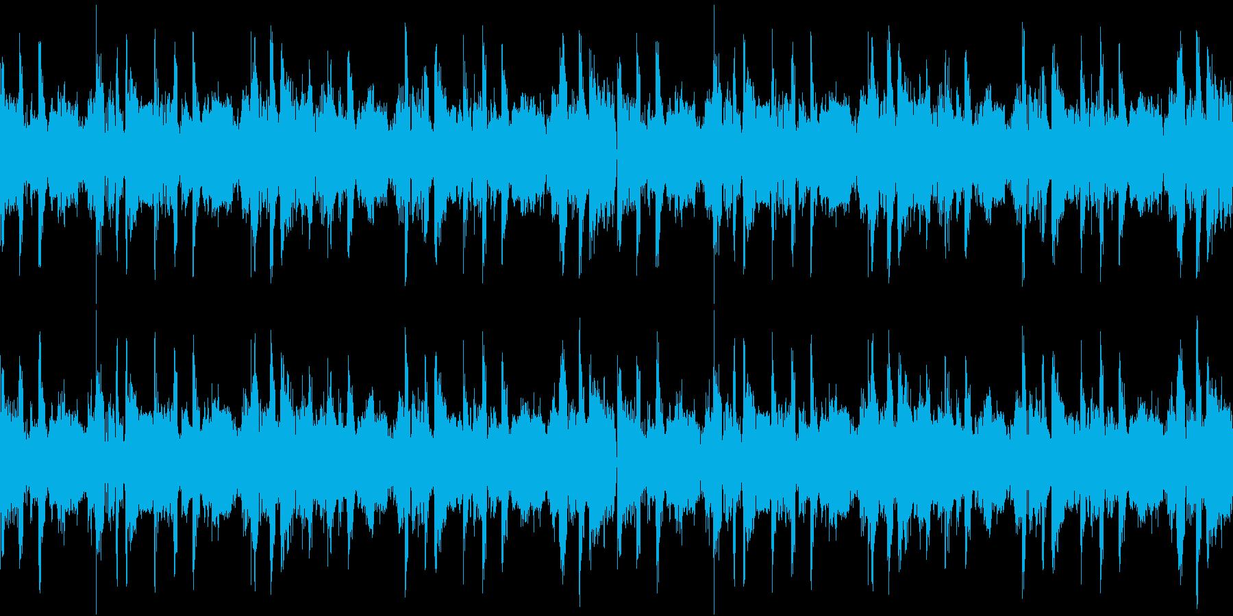 テクノなシンセベースとロックなドラムの再生済みの波形