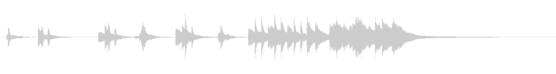 シンプルで、暖かいピアノジングルの未再生の波形