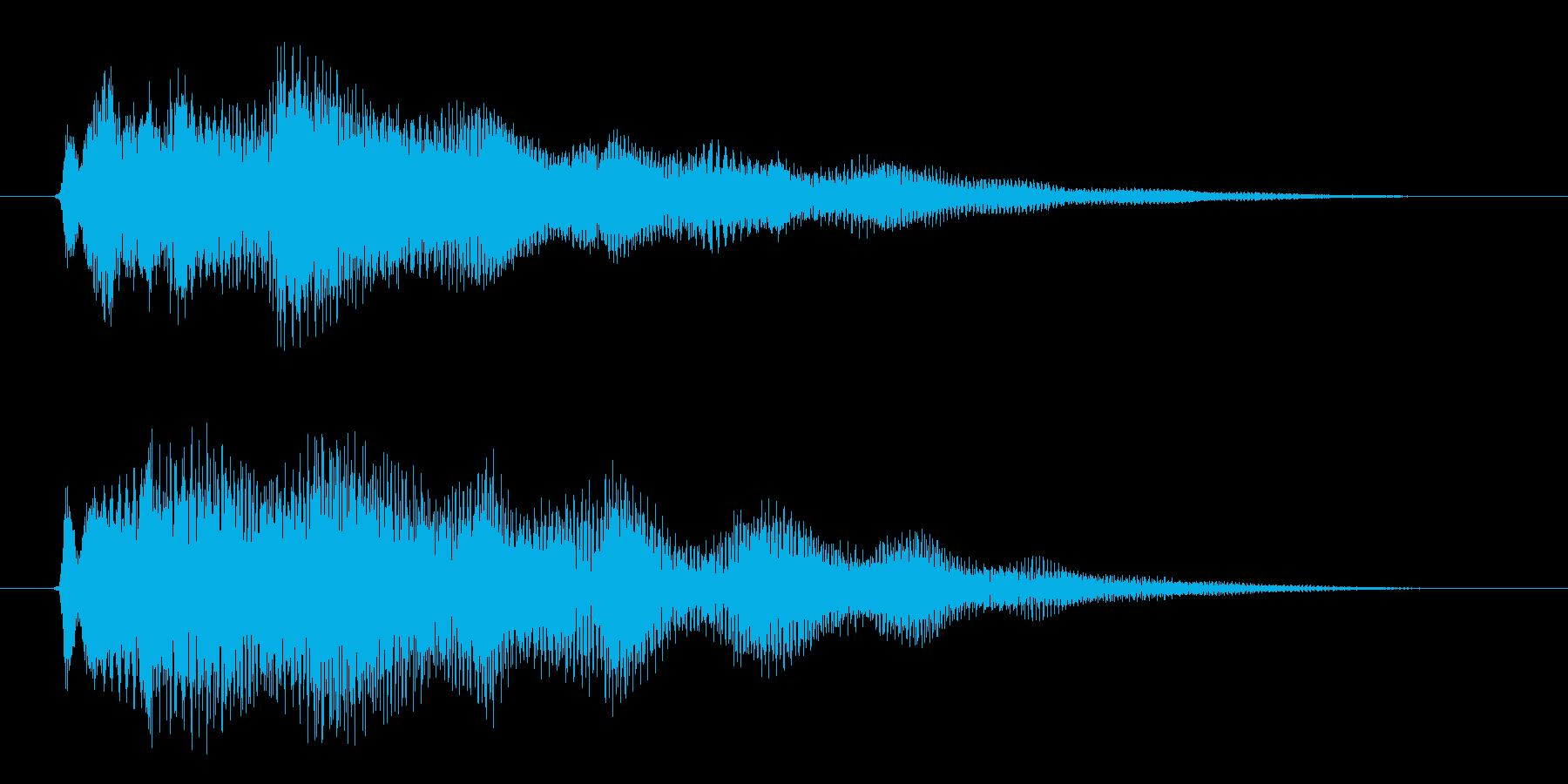 ポジティブなキラキラ系の成功・完了した音の再生済みの波形