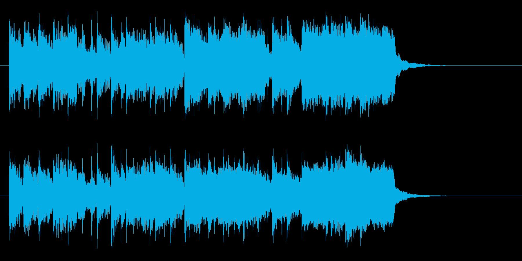 テンポよい明るい短めのシンセサイザーの曲の再生済みの波形