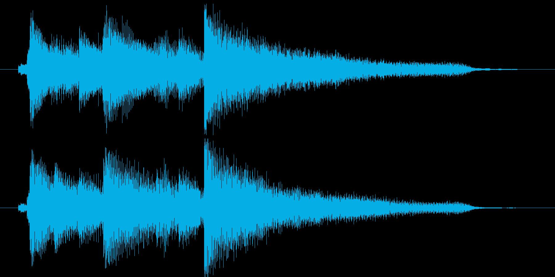 キラキラシンセとピアノのジングルの再生済みの波形