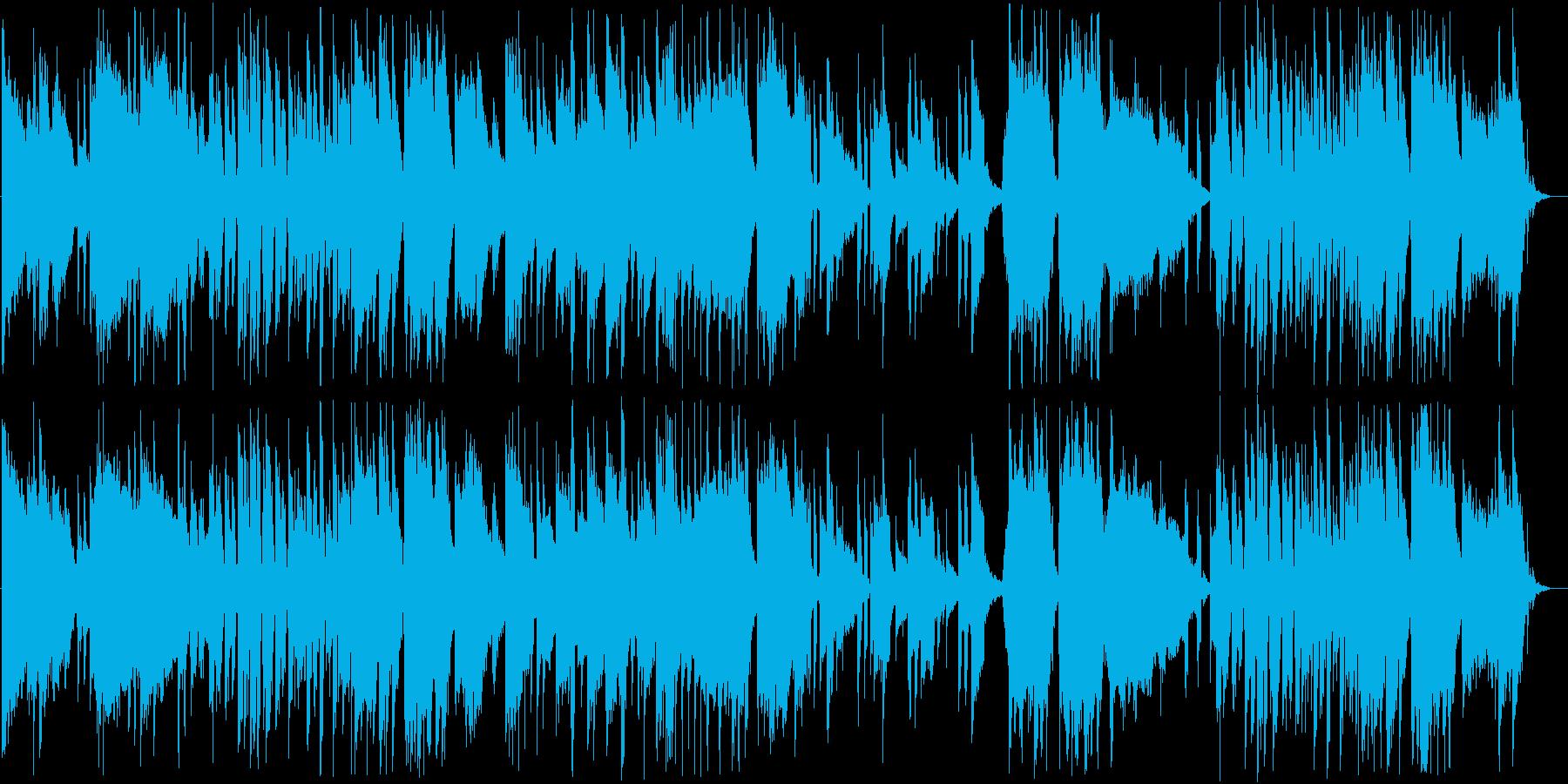 温かみがありワクワクするようなアコギ曲の再生済みの波形