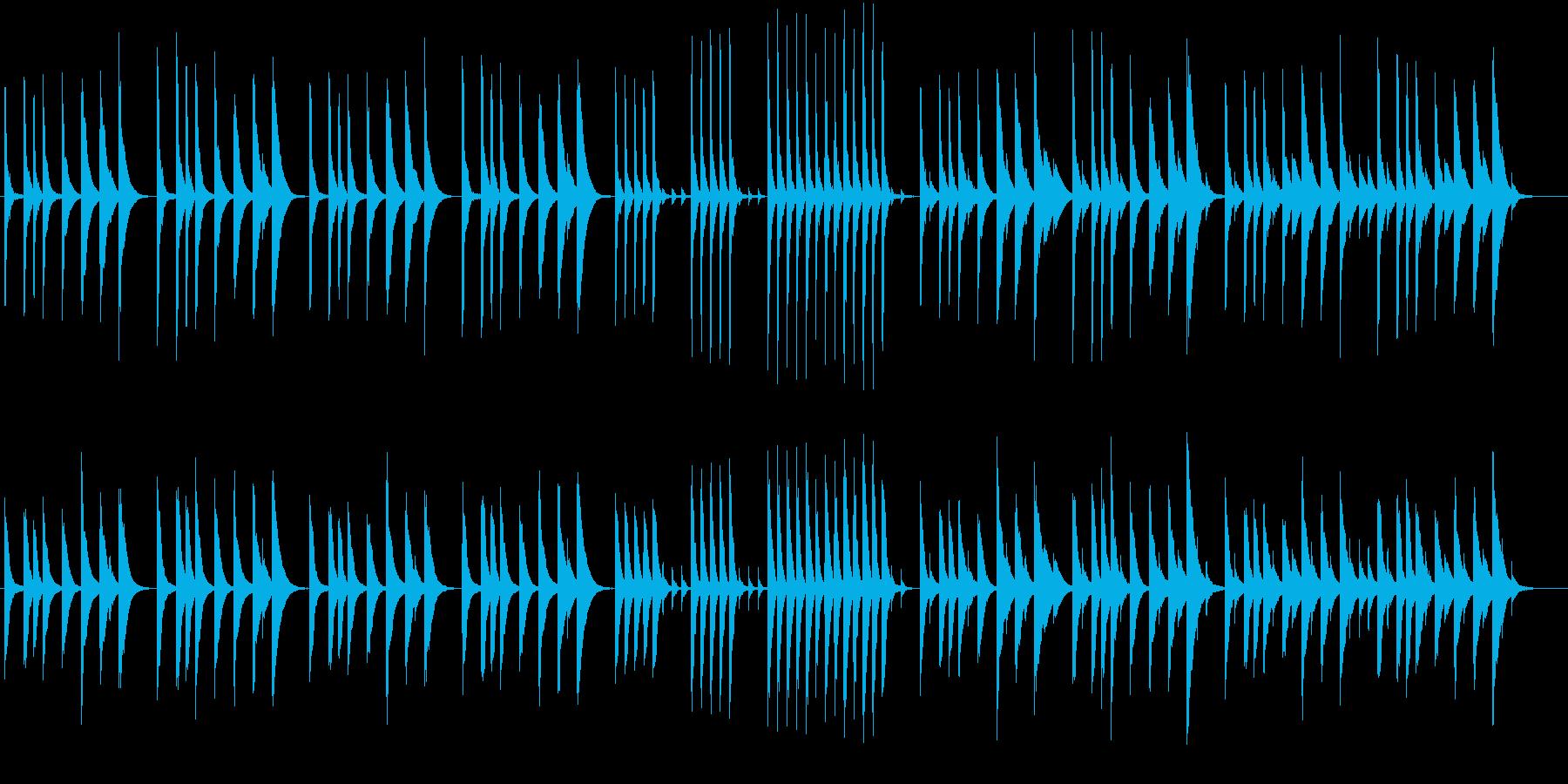 木琴のみで作ったのんびりした短い曲の再生済みの波形