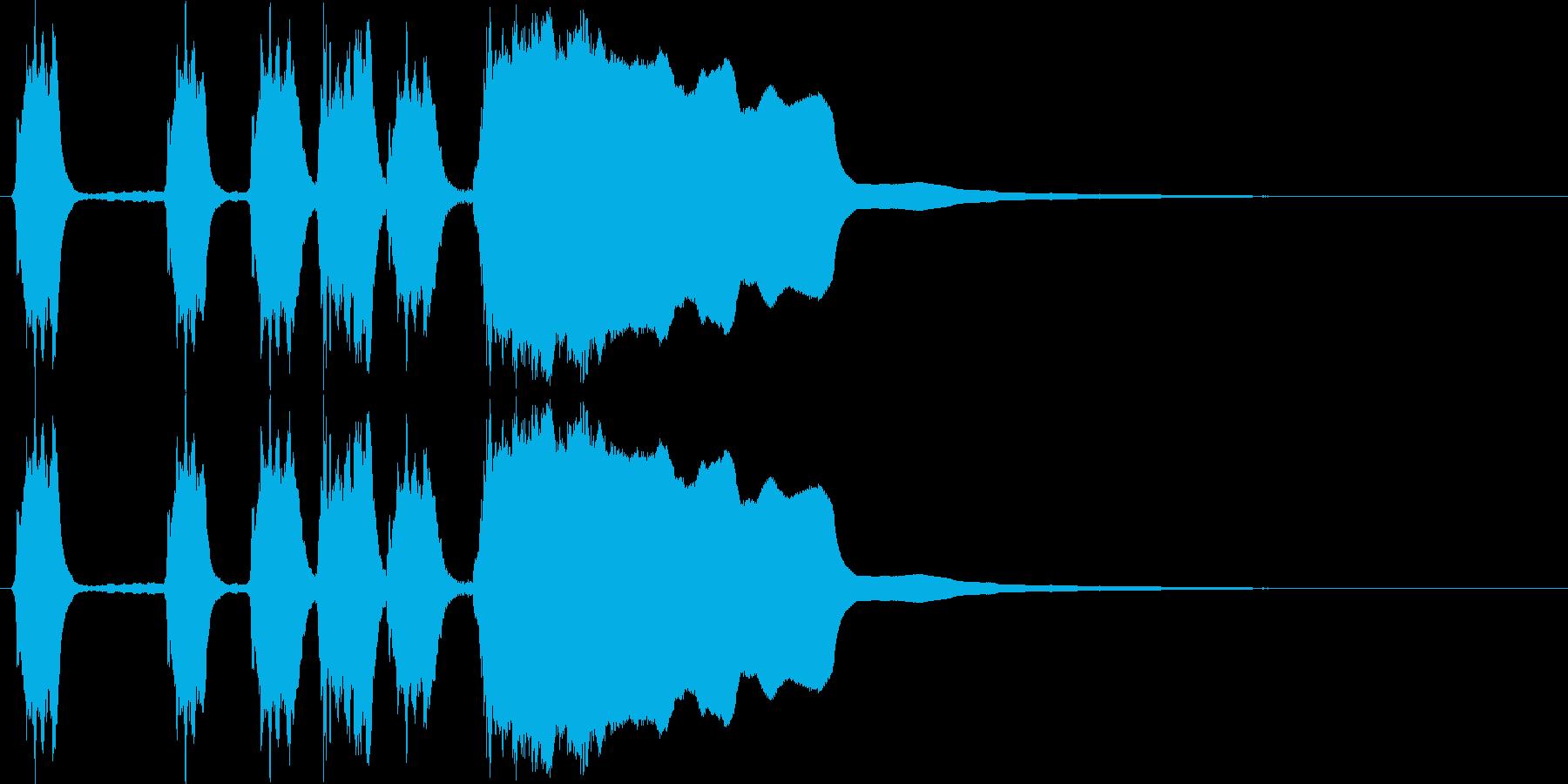 単音メロディーのシンプルなファンファーレの再生済みの波形